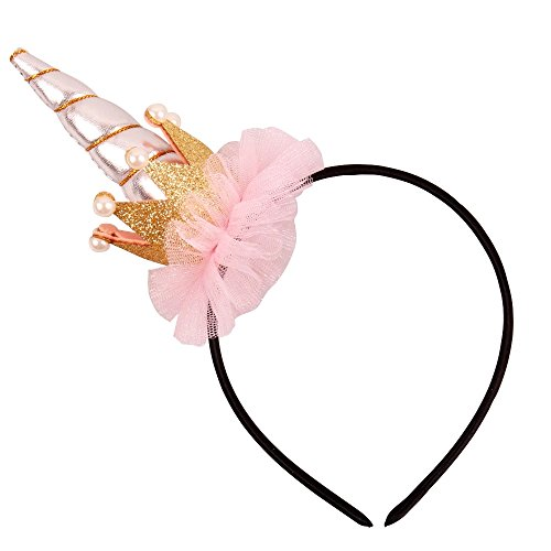 Kaste Glitter Hair Hoop Gold Unicorn Horn Ears Flower Headband Halloween Cosplay Costume Makeup Birthday Party Headdress (Crow) ¡­ -