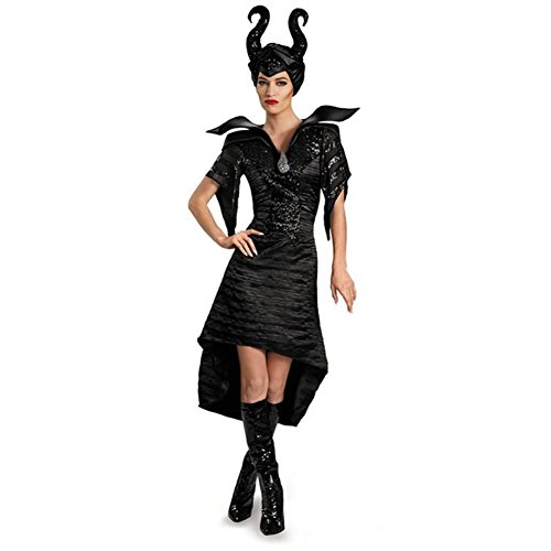 Disney Characters For Adults (Disguise Women's Disney Maleficent Movie Maleficent Christening Deluxe Women's Glam Gown Costume, Black, Large/12-14)