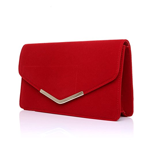 Clutch Suede Bag Medium LUCKY Red Size Red LUCKY WqvztqOfY