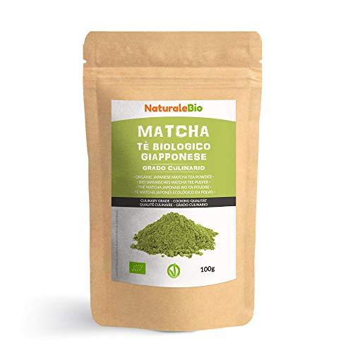 Te Verde Matcha Organico Japones En Polvo [ Grado Culinario ] 100 gr Matcha Biologico para Cocinar Matcha Ecologico Cultivado En Japon, Uji, Kyoto Ideal Para hornear, En a Cocina Y Con Latte