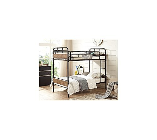 Amazon Com We Furniture Metal Wood Bunk Bed Twin Black Kitchen