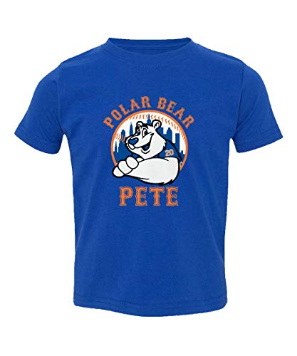 (SMARTZONE New York Fans Alonso Polar Bear Pete Baseball Little Kids Girls Boys Toddler T-Shirt (Royal, 4T))