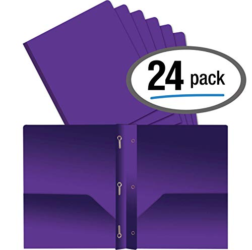 Better Office Products Purple Plastic 2 Pocket Folders with Prongs, Heavyweight, Letter Size Poly Folders, 24 Pack, with 3 Metal Prongs Fastener Clips, Purple