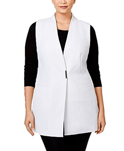 Alfani Womens Plus Crepe Textured Vest White 24W