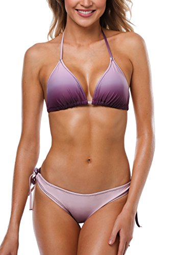 CharmLeaks Womens Triangle Bikini Top Paded Bra Two Piece Bikini Bathing Suit Wirefree,X-Large,Gradient Purple ()