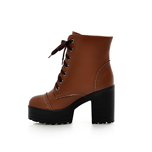 Shoes Brown Wheeled Chunky Suede Imitated Heel Heels Boots Casual AdeeSu Girls wvXq1pvB