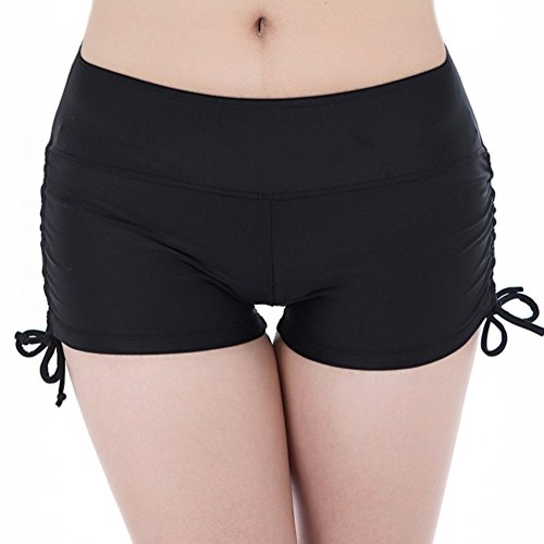 EachEver Women's Mini Shorts Swim Boardshorts Beach Bikini Bottoms With Adjustable Ties Black