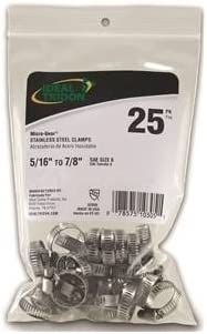 """25-Pack Ideal Tridon 62606 Micro-Gear 5//16/"""" x 7//8/"""" Stainless Steel Hose Clamps"""