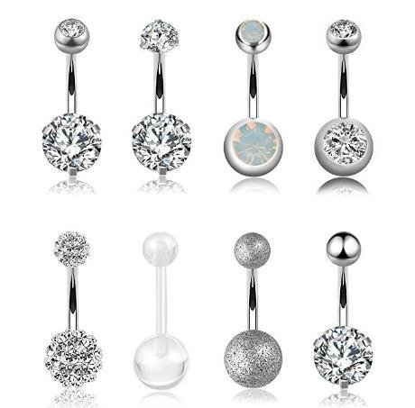 Stainless Steel Navel Ring For Women - YouMiYa 8PCS Diamond Navel Rings Body Piercing Jewelry Belly Button Ring Retail Fashion Belly Bar Gifts for Women