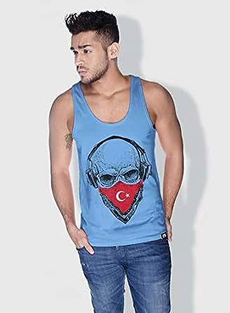 Creo Turkey Skull Tanks Tops For Men - M, Blue