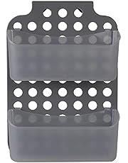 Home Basics KT47459 Adjustable Over The Cabinet Door Mount Plastic Organizer Storage Space Saving Hanging Basket for Kitchen, Pantry, Vanity and Bathroom, Cle