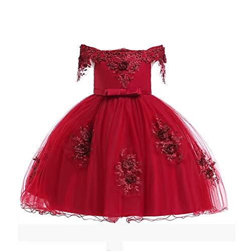 Flower Girls Halloween Dresses Kids Birthday Independence Day Dress Sleeveless Size 6T (Burgundy,120)