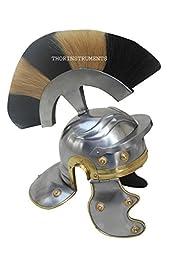 Roman Armor Helmet WHITE+BLACK Plume Medieval Knight Crusader Spartan Steel