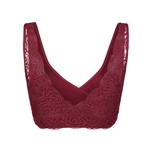 BraBar Hug Lace Back Bralette for Teen Girls & Petite Women - Comfortable & Supportive Wire-Free Bra with Junior Fit - Tawny Port, Fits Sizes 32-34 A-DDD by BRABAR (Image #1)