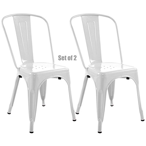 Vintage Antique Style Metal Steel Bar Stools School Office Counter Chairs Sturdy Frame Scratch Resistant - Set of 2 White #743W from Koonlert@shop