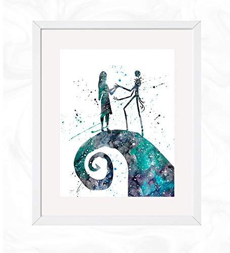 Jack Skellington and Sally Prints, The Nightmare Before Christmas Watercolor, Nursery Wall Poster, Holiday Gift, Kids and Children Artworks, Digital Illustration Art -