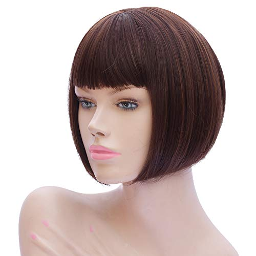 Akali Brown Short Bob Wig with Bangs for Women Fashion Straight Heat Resist Synthetic Wigs 10