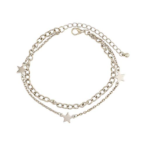 Women Star Anklet Bracelet Fashion Beach Barefoot Chain Jewelry for Girls and Ladies (Silver)