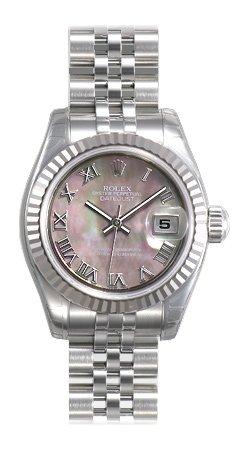 Rolex Lady Datejust Black Mother of Pearl Roman Dial Fluted 18kt White Gold Bezel Steel Jubilee Bracelet Watch 179174BMRJ