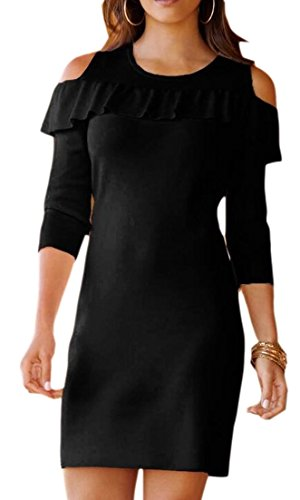 Mini Cold Dress Shoulder Pencil Fit Sexy Black Cocktail Women's ainr Bodycon Ruffle z1wqE