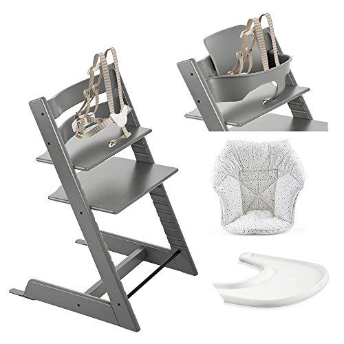 (Stokke Tripp Trapp High Chair, Baby Set - Storm Grey, White Tray & Mini Baby Cushion - Soft Sprinkle)