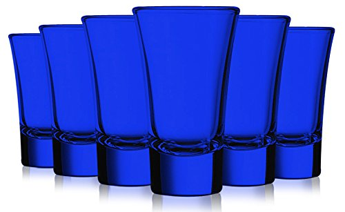Cobalt Blue Colored Evase Cordial Glasses - 2 oz. set of 6- Additional Vibrant Colors Available by TableTop King