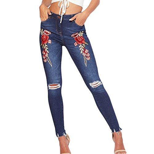 SELUXU Vaqueros Pitillo Bordados de Las Mujeres Vaqueros Ajustados de Las señoras Jeans elásticos Ajustados Color1