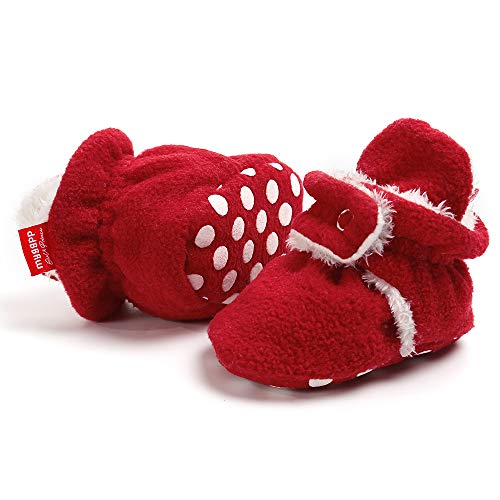 Tutoo Toddler Unisex Baby Boys Girls Slippers Fleece Plush Ankle Booties Grippers Newborn Infant Cotton Socks Soft Anti Slip Bottom ()