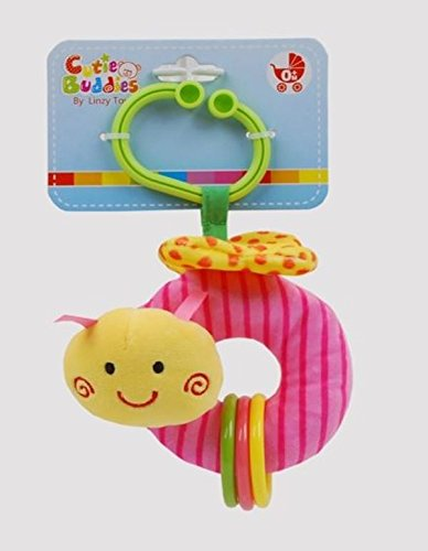 Linzy Toys 5 Take Along Butterfly Baby Activity Rattle Plush Toy Pink L-53443PK