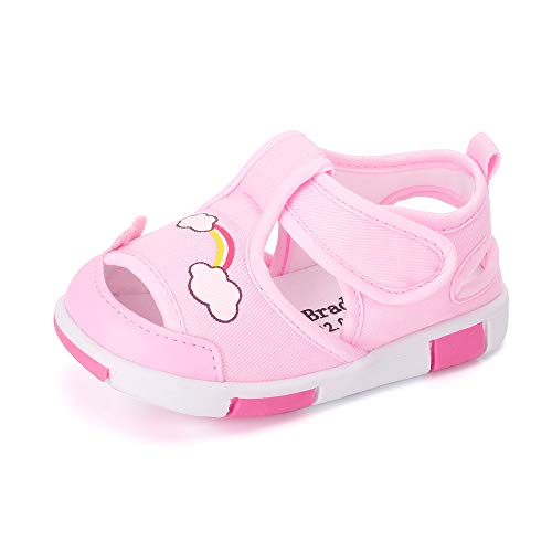 Baby Shoes Boys Girls First Walkers Sandals Cute Animals Toddler Sneakers Prewalkers Rubber Sole Pink Rainbow