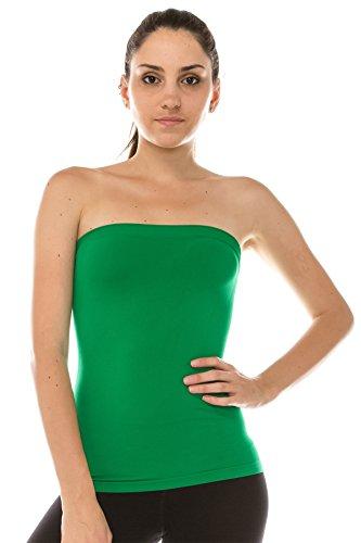 - Kurve Women's Seamless Stretch Long Bandeau Tube Top -Made in USA-, Green B, X-Small / Medium