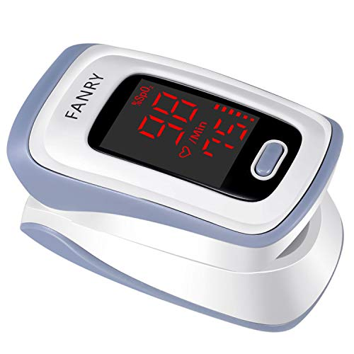 FANRY Fingertip Pulse Oximeter Blood Oxygen Saturation Monitor with Batteries and Lanyard, CE Certified, Accurate, Portable Oximetry