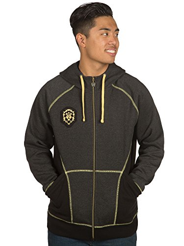 JINX World of Warcraft Men's Alliance Classic Premium Zip-up Hoodie (Charcoal Heather, Large)