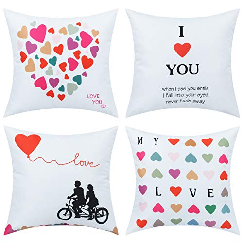 BLEUM CADE I Love You Pillow Covers Loving Heart Bicycle Lover Throw Cushion Case Valentine Decor or Gift for Lover Home Car Daily Use