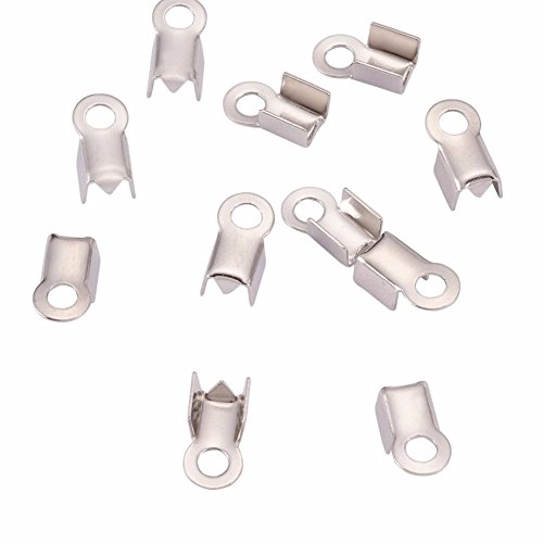 - 500pc Silver Fold Over Crimp End Caps Pieces- Jewelry Connectors With Loop- (6 x 3mm)- Fits Up To 2.6mm