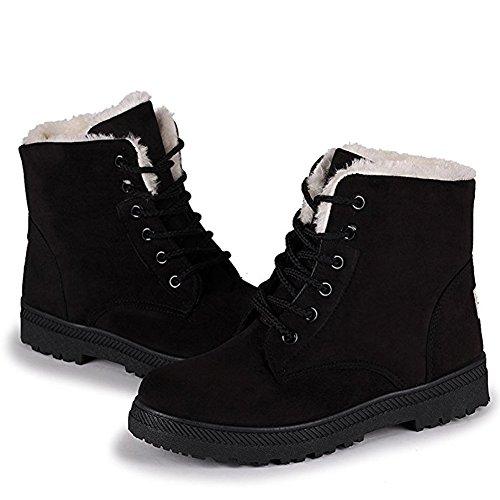 LAROK Suede Flat Platform Sneaker Shoes Plus Velvet Winter Women's Lace Up Cotton Snow Boots,NXX01,Black,41 (Velvet Up Black Shoe Lace)
