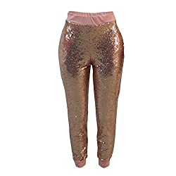 Women's Sequins High Waist Loose Casual Pants