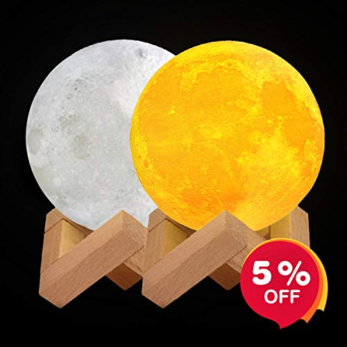IDEAcone Moon Lamp, 3D Printing Luna Light, Decorative Nursery Night Light, Warm Yellow/Cool White Sensor Control with Wooden Mount for Kids, Birthday, Holiday (4.8