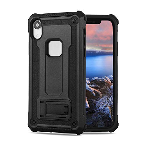 ANHONG iPhone XR Case Kickstand, [Shock Absorption][Stand Feature] Hard PC+ TPU Bumper Dual Layer Protective Cover Compatible iPhone XR 6.1 inch 2018 (Black)