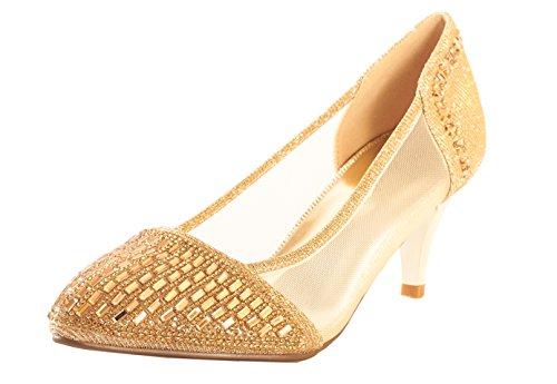 Jotw Womens Goldtone Open Toe Pompa Oro