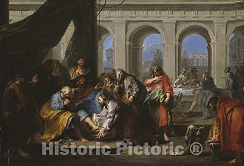 Historic Pictoric Print : Christ Washing The Feet of His Disciples, Nicolas Bertin, c 1725, Vintage Wall Decor : 24in x 16in (Christ Washing The Feet Of His Disciples)