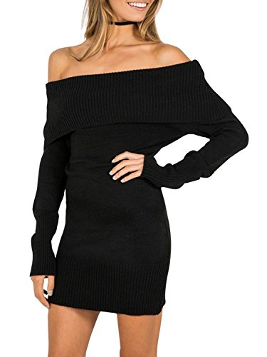 Shangke Des Femmes Du Haut Pull En Tricot Épaule Robe T-shirt Blouse Noire
