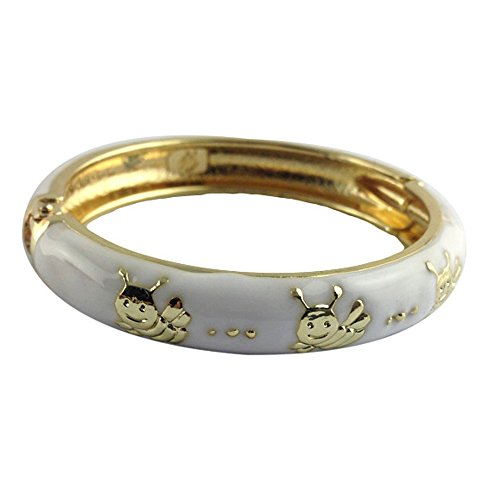 UJOY Childrens Bracelet Bangles Girls Jewelry Cloisonne Enamel Animals Flowers Bracelets Gift with Box 55D04 bee white (Silver Bangle Bracelet Bamboo)