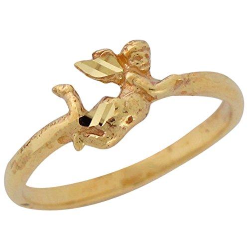 - Jewelry Liquidation 10k Yellow Gold Ladies Diamond Cut Petite Cherub Angel Cupid Ring