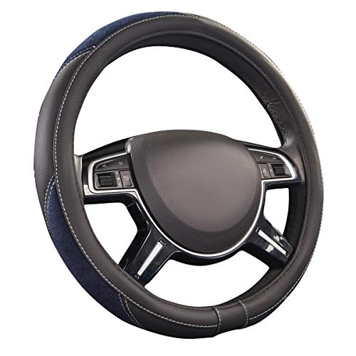 (CAR PASS Luxurious Leather and Velour Universal Steering Wheel Cover, for Trucks,Suvs,Vans,Sedans(Black and Blue))