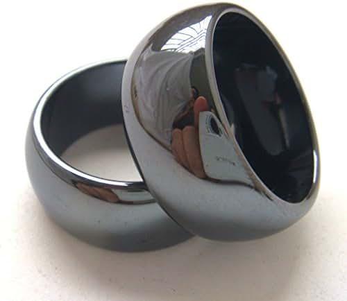 2pcs 10mm Black Wide Hematite Stone Finger Band Men Women Rings Gift Box Size 5-13