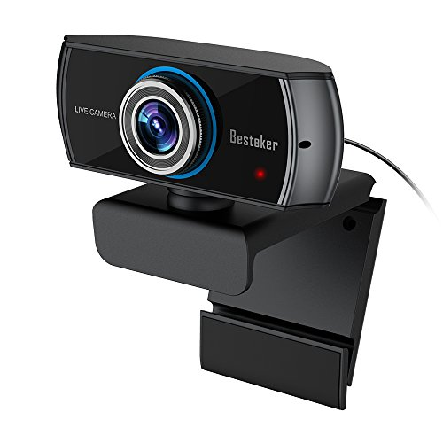 1536P Full HD Webcam, Besteker 1080P USB Web Camera with Microphone for Video Calling, Streaming and Recording, Wide Angle Skype Camera with Facial-enhancement Technology for Desktop, Laptop, PC, Mac