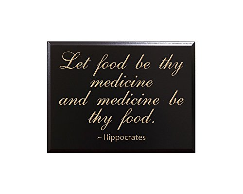 TimberCreekDesign Let food be thy medicine and medicine be thy food. Hippocrates Decorative Carved Wood Sign Quote, Black (Wood Carved Plaque)