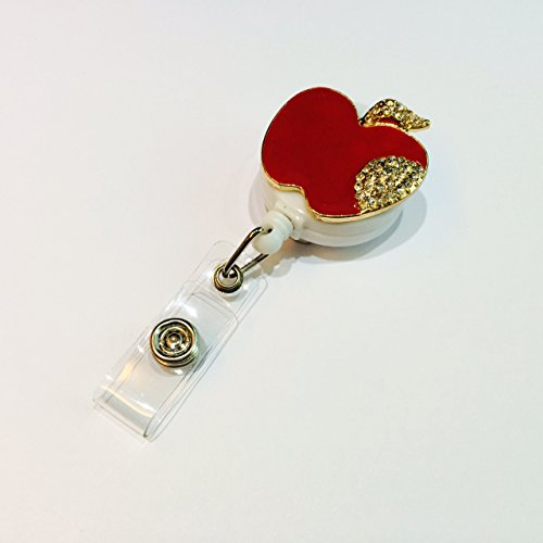 Bling Rhinestone Red Apple Decorated Retractable Badge Reel ID Holder with Clip (Apple Lanyard)