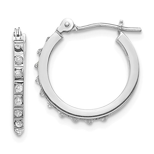 14k White Gold Diamond Fascination Hinged Hoop Earrings Ear Hoops Set Fine Jewelry Gifts For Women For Her ()